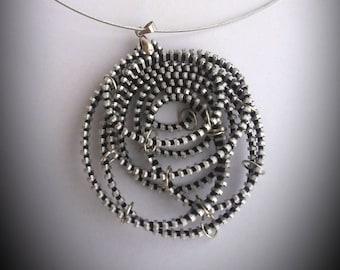 Geometric round pendant Silver zipper pendant Zipper necklace Geometric pendant Zipper jewelry Industrial jewelry Round silver pendant