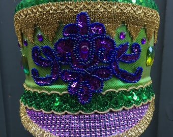 Green and Purple Marching Hat