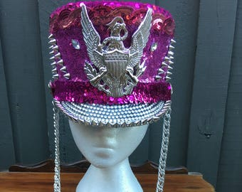 Pink and Silver Marching Hat