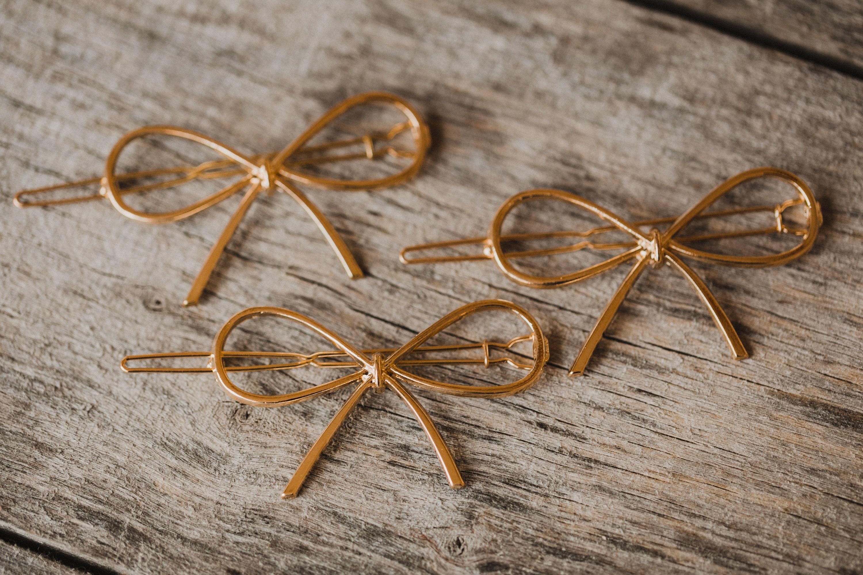 Goldene Haarspange Schleife Geschenkschleife Gold