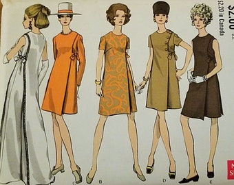 Vintage Vogue pattern 7346, 1960s Misses one piece dress in two lengths size 16