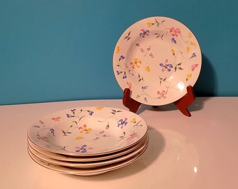Set of five Totally Today Phlox pattern rim soup bowls, 8 inches floral soup bowls