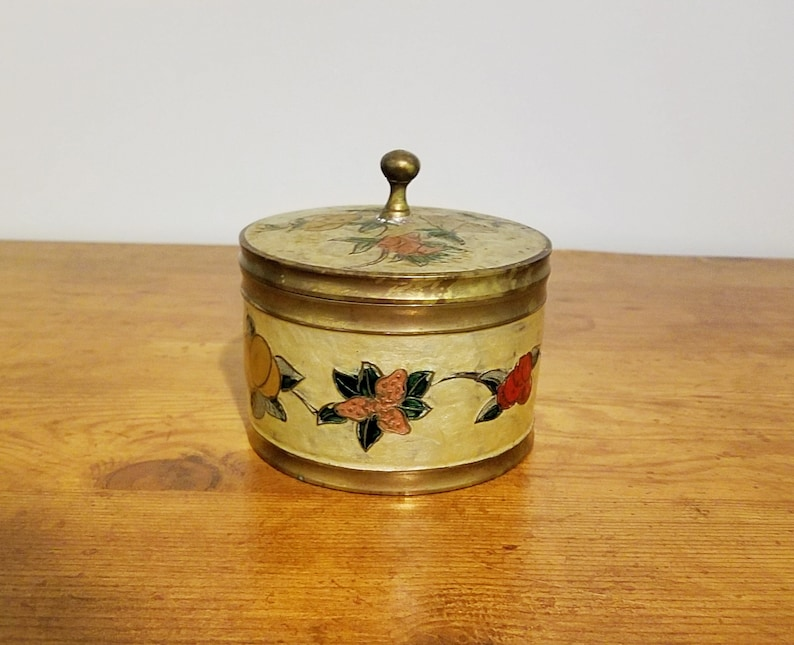 Vintage Brass Fruit Container Bowl with Lid with Blue and Red Gemstones Stamped India