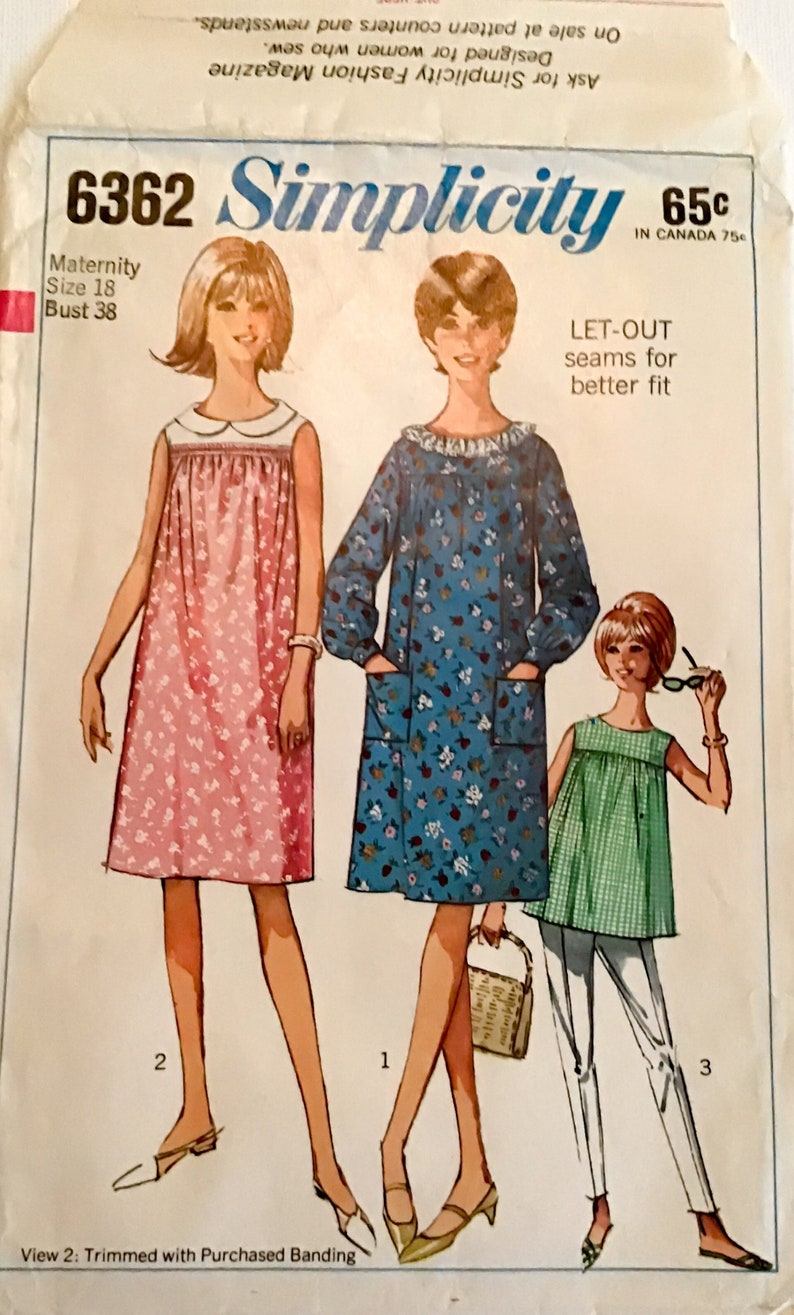 fc14d1ae8c335 Vintage Simplicity 6362 One Piece Maternity Dress or Top in   Etsy
