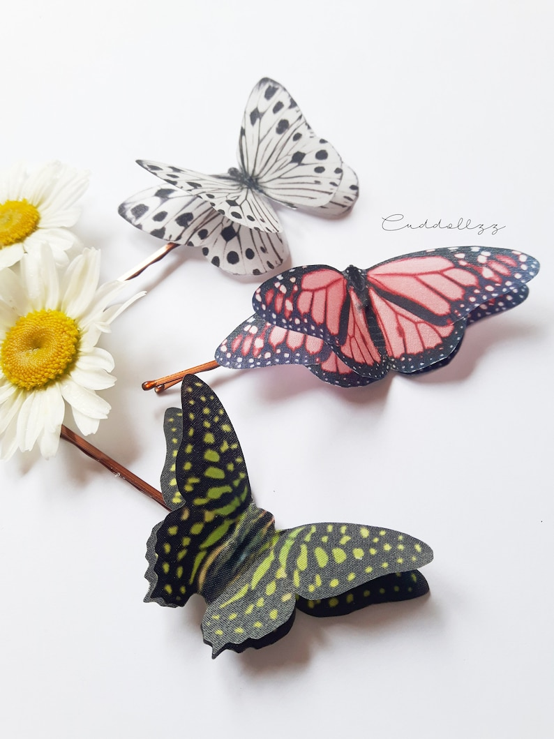 Beautiful Butterfly Gift. Coral and Green Monochrome Butterfly Butterflies hair slides made of silk