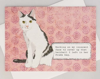 Cat with hairball etsy funny cat card working on my innocent face hairball in prada bag naughty cat handmade hand drawn all occasion blank inside gumiabroncs Choice Image