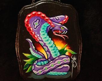 Cobra tattoo flash art original acrylic painting on wood plaque