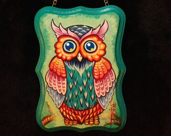 Original art acrylic painting on wood plaque of whimsical owl