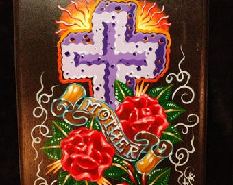 Original art acrylic painting on wood plaque in memory of mother