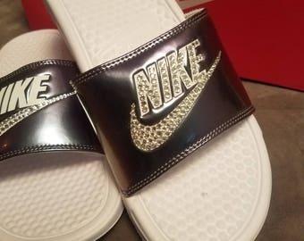7241ea4c955e30 FREE SHIPPING Swarovski Nike Benassi JDI Print Slide Sandals customized  with Swarovski Crystals Bling Nike