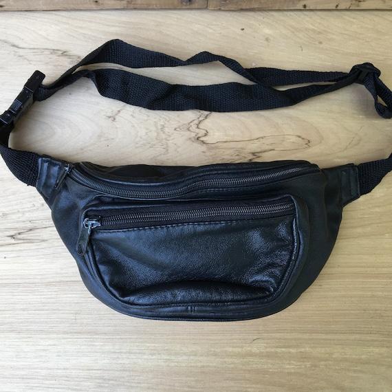 Vintage en cuir noir sac banane taille sac à main sac banane