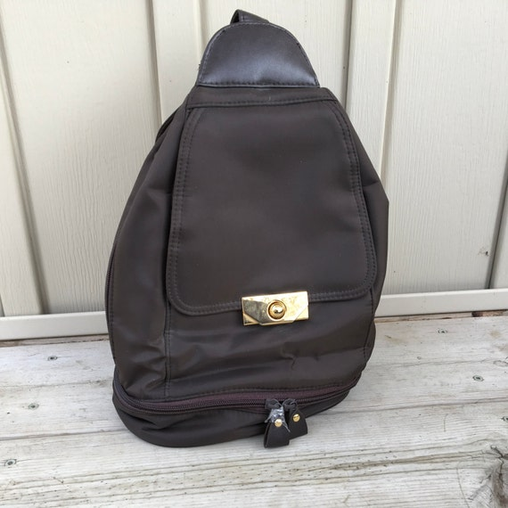 6f054f5bf924 Vintage Brown Nylon Backpack Purse