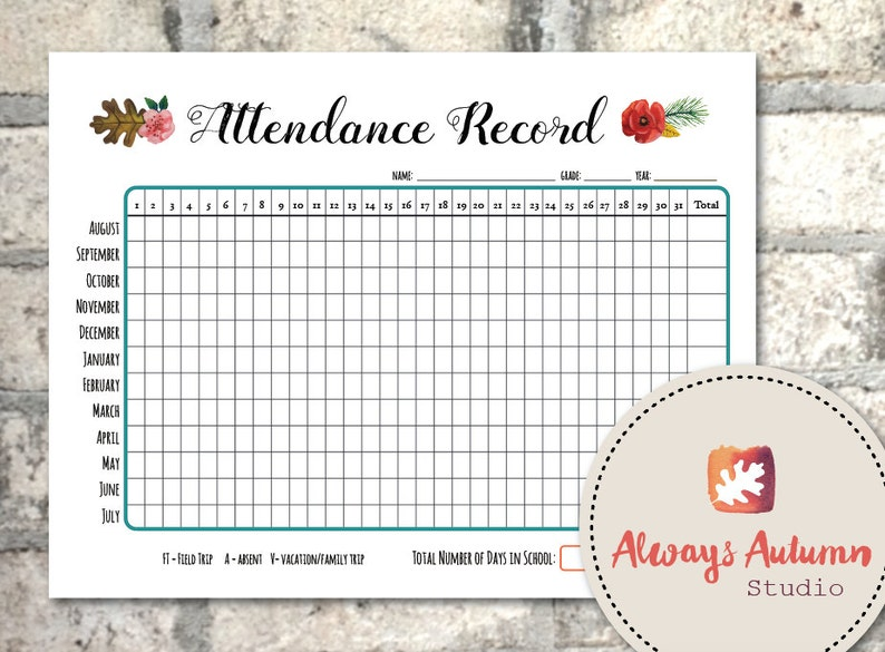 Peachy Printable Homeschool Attendance Record Undated August To July July To June Four Seasons Collection Download Free Architecture Designs Scobabritishbridgeorg