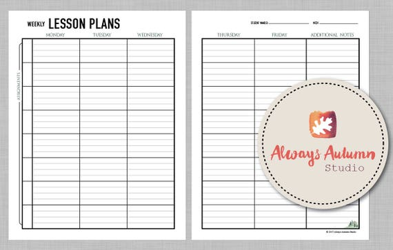 printable 8 subject assignment weekly lesson plan planner etsy
