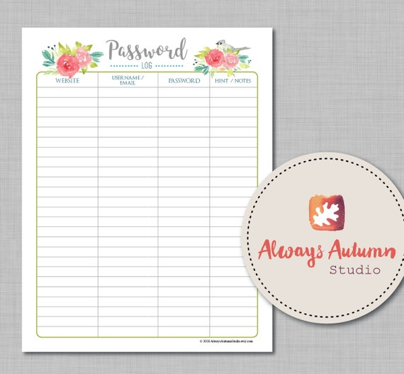 graphic regarding Printable Password Log identified as Editable Printable Pword Log Keeper Organizer Tufted Titmouse and Roses 8.5 X11 PDF