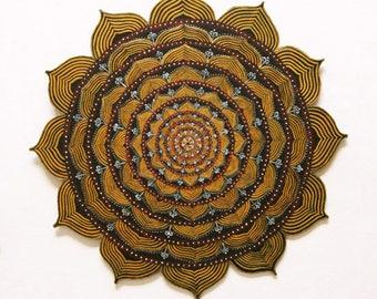 Mandala yellow lotus to hang on the wall