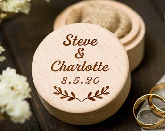 Wedding Proposal Gift Round Wooden Ring Box with Personalised Name