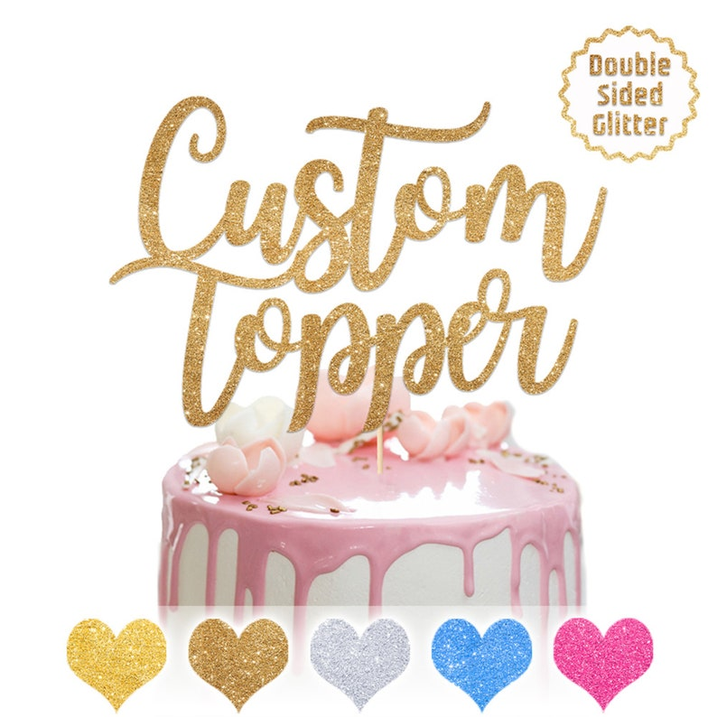 colours glitter love heart  birthday cake topper personalised name age
