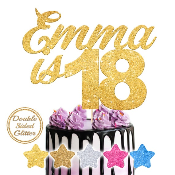 Rose Gold Glitter Cake Topper Any Age /& a Name* Personalised Birthday 16 18 21+