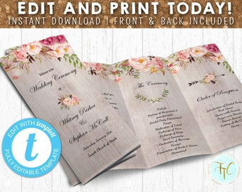 trifold wedding program etsy