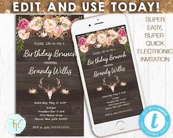 EDITABLE PHONE INVITATION Boho Birthday Invite Digital Evite Electronic Invitation Paperless Templett Instant Download