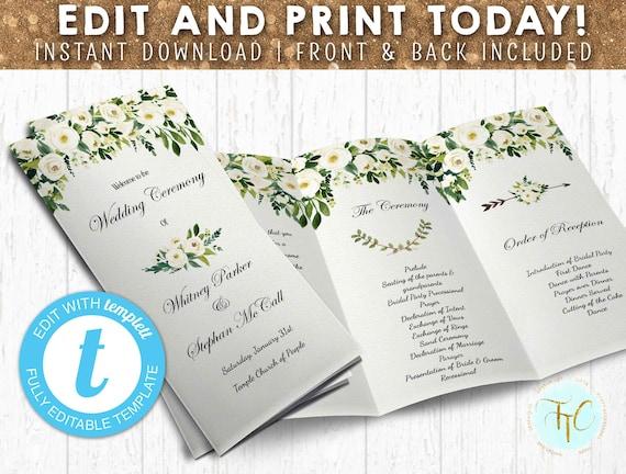 wedding program template editable wedding trifold program etsy