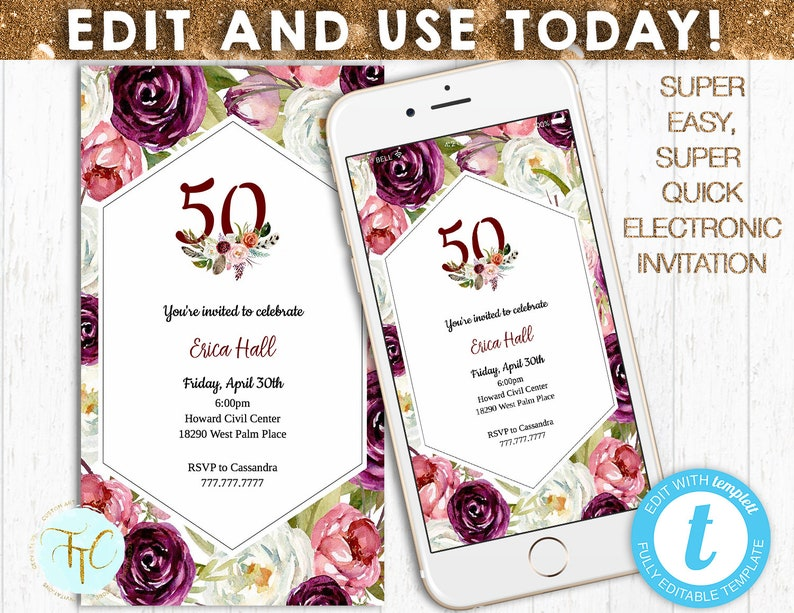 EDITABLE BIRTHDAY INVITATION 50th Birthday Evite Digital Invite Templett Instant Download Phone Invitation Customizable