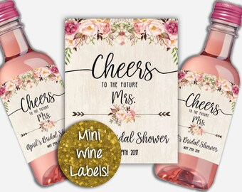 Custom Wine Labels, Mini Wine Labels, Future Mrs Wine Label, Personalized Wine Tags, Bridal Shower Wine Tags, Miniature Wine Labels, Brunch