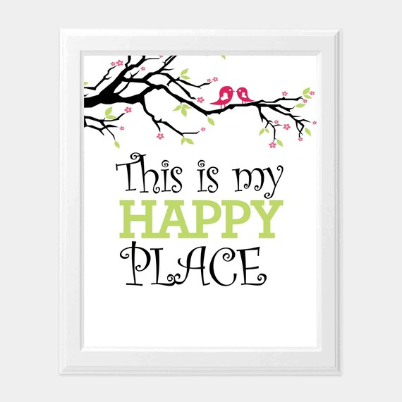 This is My Happy Place Print, Happy Place Sign, Flower Quotes, Lovers  Quotes, Newlywed Wall ART, INSTANT DOWNLOAD, Digital Prints