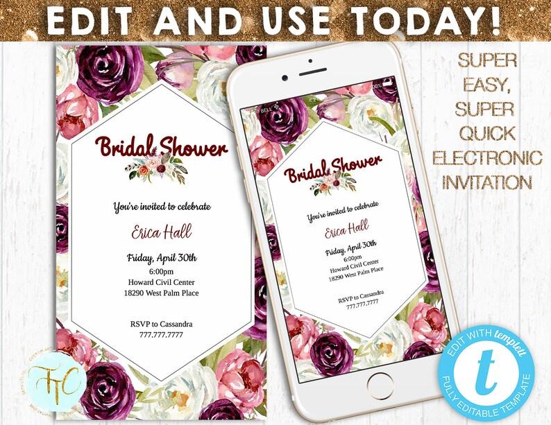 3bbcb851722 INSANT BRIDAL SHOWER Invitation Electronic Bridal Shower