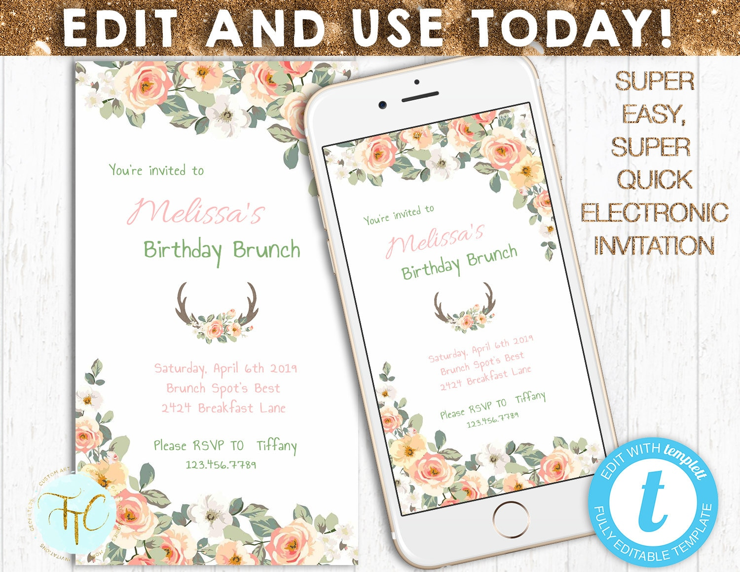 EDITABLE DIGITAL INVITATION Electronic Birthday Brunch | Etsy