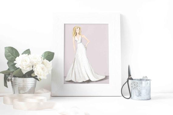 Personalized Bridal Gown Sketch Custom Bride Gift Custom | Etsy
