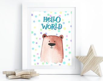 Poster Bear, Children's Room Poster, Baby Room Decoration, Confetti Poster, Teddy Bear, Poster Print, Confetti Bear, Gift for Birth