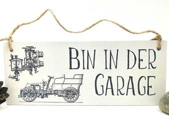 Wooden sign garage, workshop sign, door sign car motif, sign for hobbyists and screwdrivers, men's cave door sign