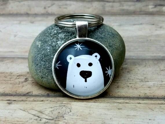 Porte-clés ours, polaires bear porte-clés sac ours de glace, linoléique ours, ours blanc, remorque polar bear, pendentif clé
