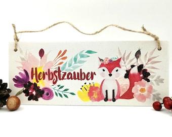 Autumn decoration sign, shield autumnal, fox motif, autumn flowers door sign, gift Thanksgiving, autumn magic
