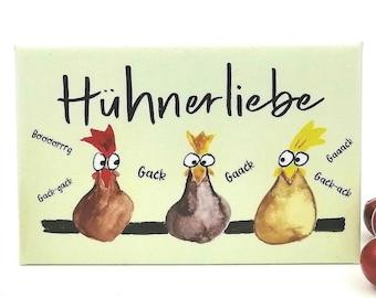 Fridge magnet chicken, chicken love motif, kitchen decoration, chicken pictures, chicken owner gift, farm motif, magnet animals