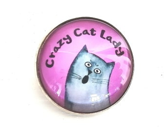 Brooch with cats motif, cats jewelry, funny cat, cat pin, cats illustration, statement jewelry, cat lady saying