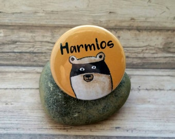 Raccoon button, raccoon illustration, raccoon badge, glade friends, raccoon badge, raccoon brooch, bear brooch