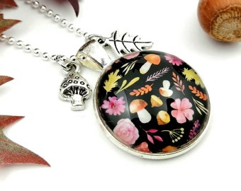 Necklace forest mushroom motif, ball chain with pendant leaf and toadstool, colorful foliage, sweater necklace, woodland necklace motif