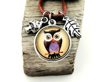 Necklace with owl, woodland animal jewelry, pendant oak leaf and toadstool, forest friends pendant, book jewelry, gift for reader