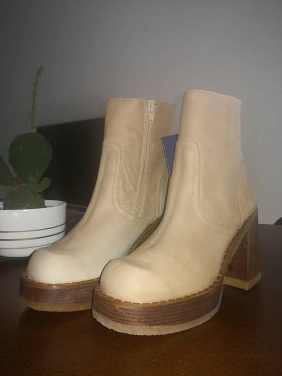 90s deadstock vintage platform ankle boots Destro… - image 1