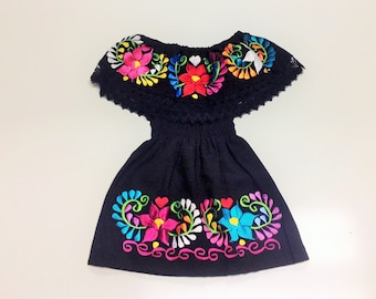 Black Mexican Baby Toddler Dress Embroidered Handmade Different Sizes