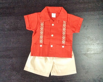 Mexican Baby Toddler Boy Guayabera Outfit Spice Orange and Beige Outfit Embroidered Handmade Shirt and Shorts Set