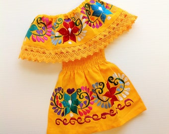 Yellow Mexican Baby Toddler Dress Embroidered Handmade Different Sizes