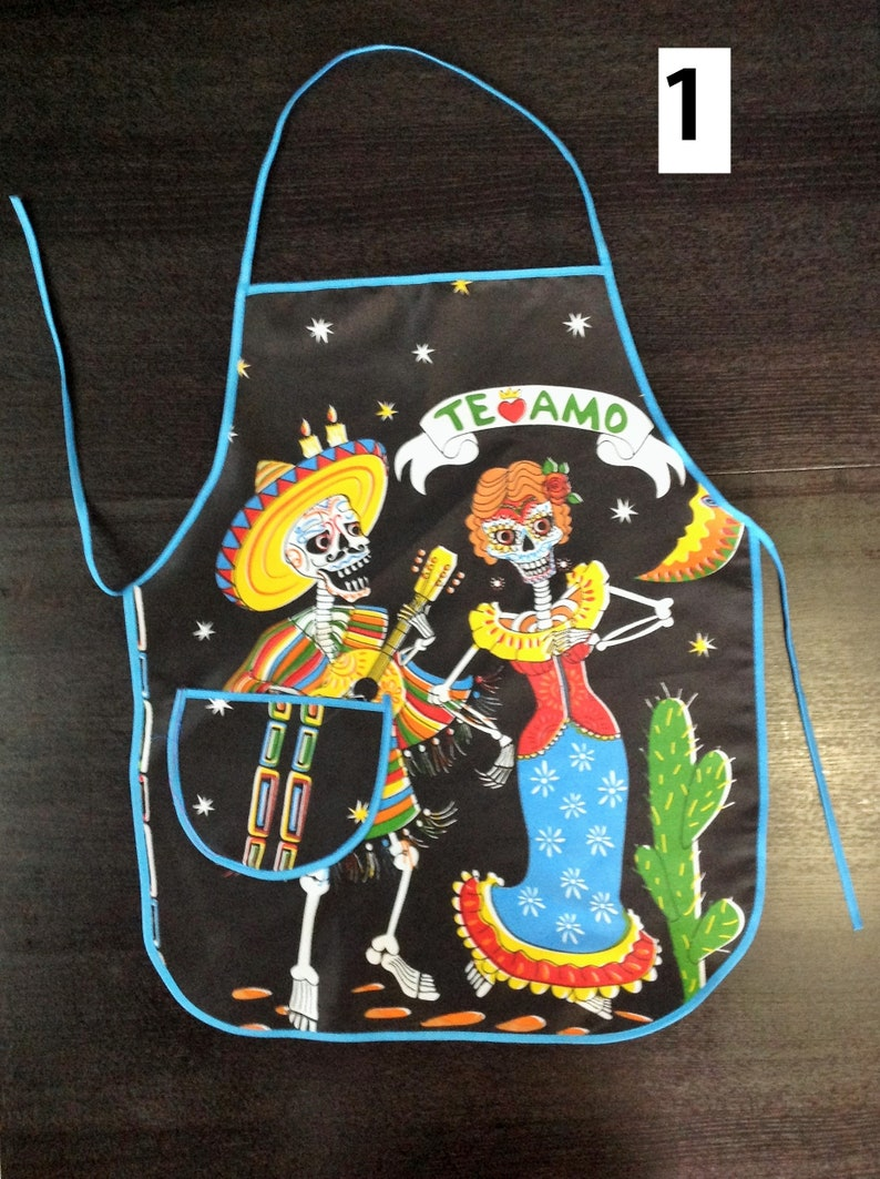 Day of the Dead Apron La Catrina Apron 5 Different Styles Mexican Apron Cooking Apron with a Pocket Chef Apron Unisex Dia de Muertos