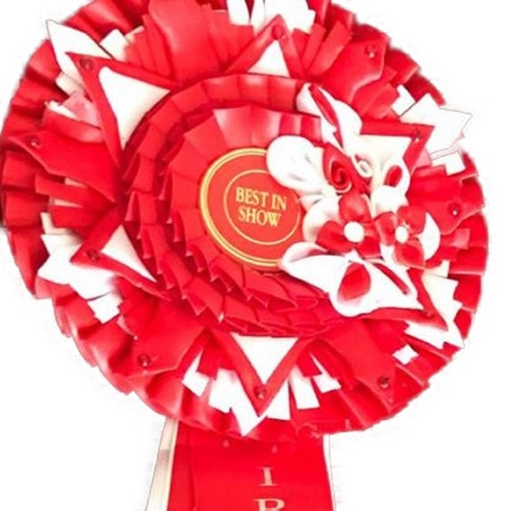 Rosette. Kanzashi, 5 tier. dog show, fun show, pet show.  cat show, or special occasion