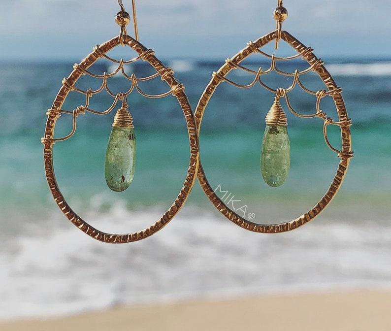 Green Kyanite Mermaid Scale Goldfilled Earrings Kai Kyanite