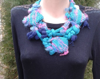 Hand knit yarn bib necklace, rustic necklace, geometric necklace, bohemian necklace, OOAK