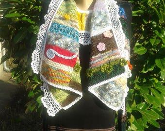 Modern Look... Women hand knit yarn vest / shrug /poncho / scarf, boho vest, winter-spring time accessory, Knit vest